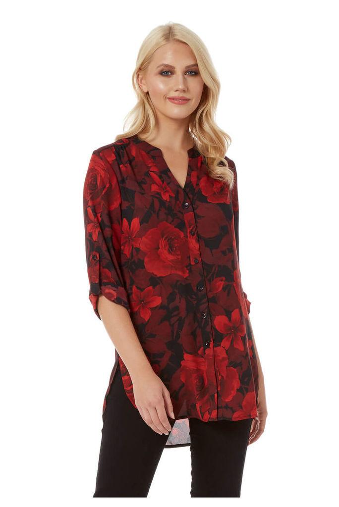 Rose Print Roll Sleeves Shirt