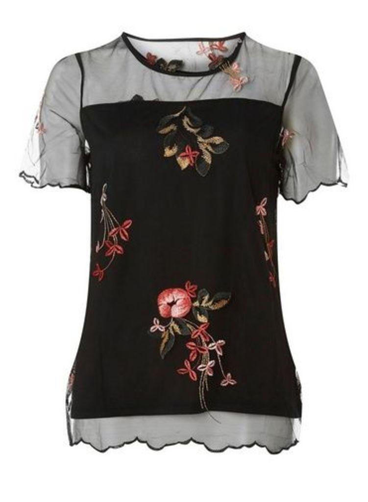 Womens **Vila Black Embroidered Top- Black, Black