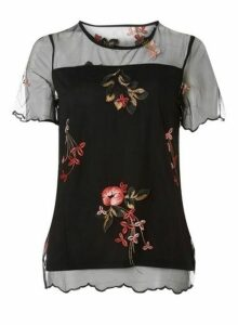 Womens **Vila Black Embroidered Top- Black, Black