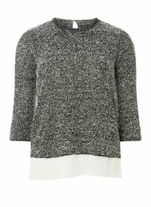Womens Grey Boucle 2 In 1 Top- Grey, Grey