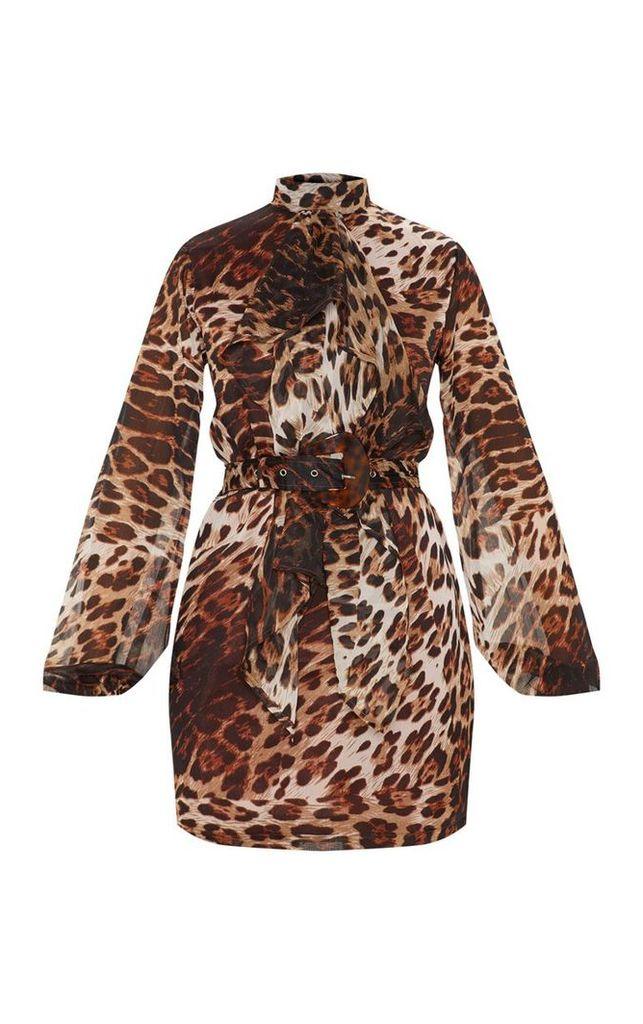 Tan Leopard Print Chiffon Tortoise Belt Shift Dress, Brown