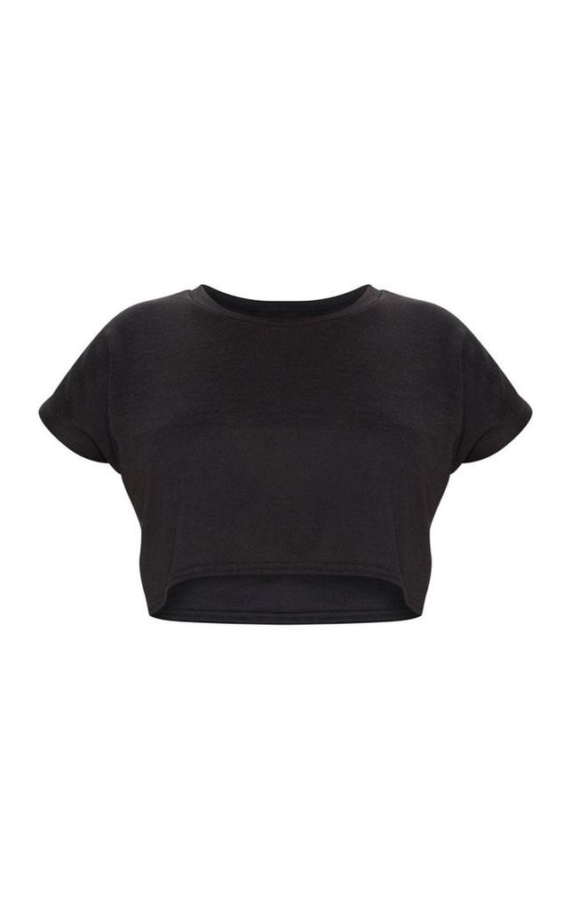 Plus Black Cropped T-Shirt, Black