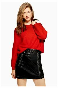 Womens Petite Ribbed Cropped Jumper - Red, Red