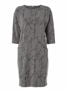 Womens *Roman Originals Grey Marble Print Shift Dress- Grey, Grey