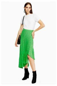Womens Spot Ruffle Midi Skirt - Green, Green