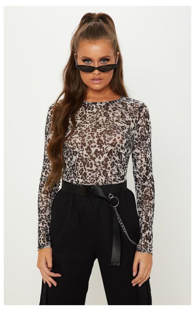 Grey Mesh Leopard Print Long Sleeve Top, Grey