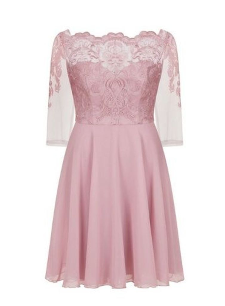 **Chi Chi London Rose Gold Embroidered Dress, Pale Pink