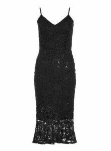 Womens *Quiz Black Lace Sequin Dress- Black, Black