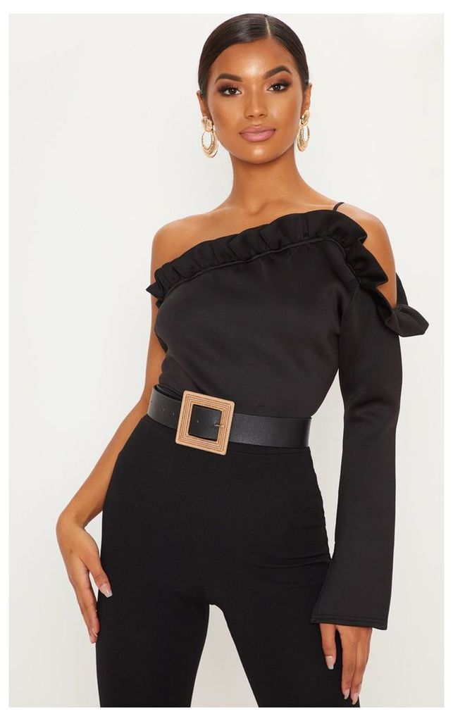 Black Bonded Scuba Frill One Shoulder Crop Top, Black
