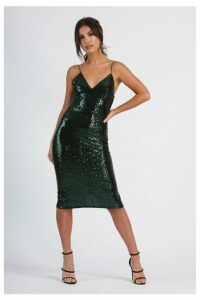 Womens **Sequin Cami Midi Dress By Club L - Green, Green