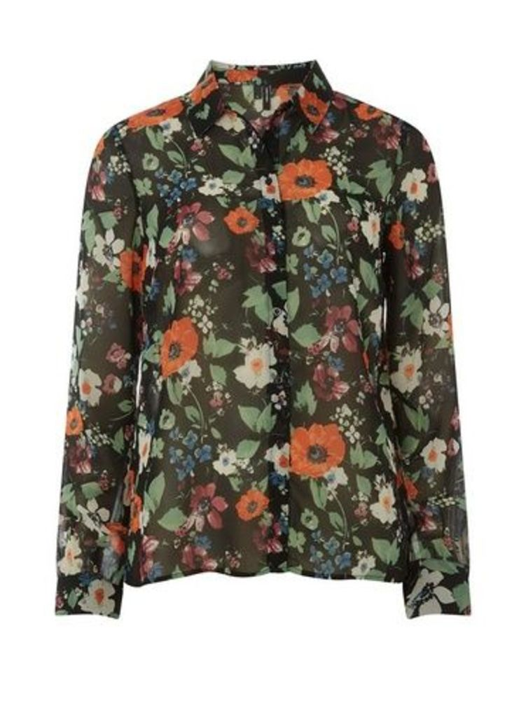 Womens ** Vero Moda Black Floral Blouse- Black, Black