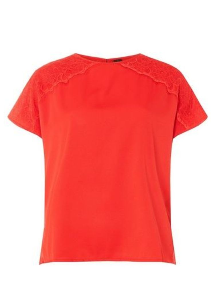 Womens **Vero Moda Red Lace Top- Red, Red