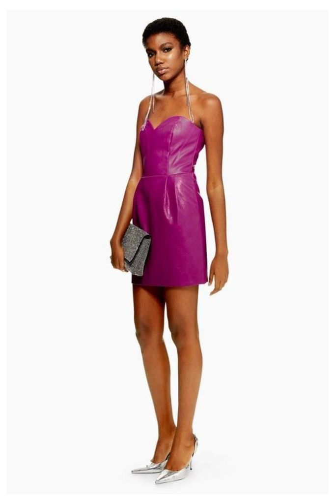 Womens Pu Bandeau Mini Dress - Purple, Purple