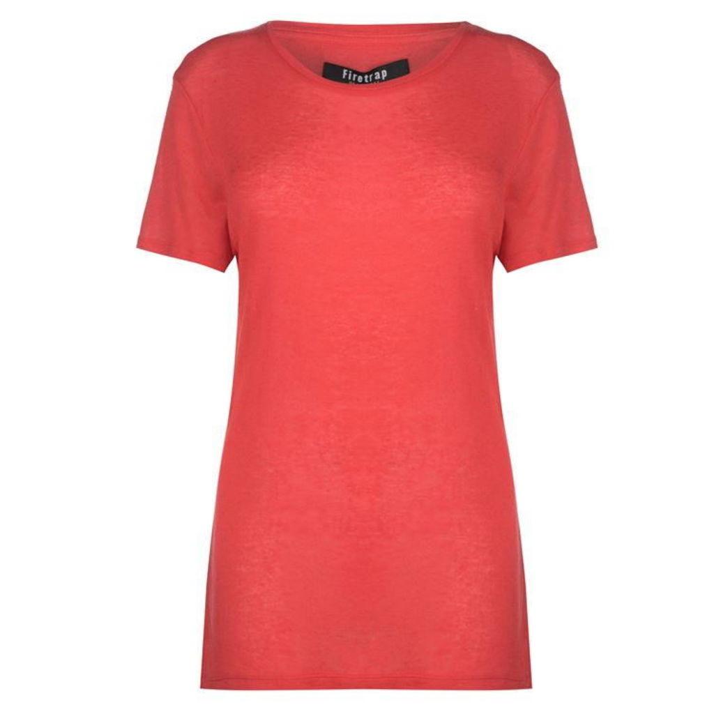Firetrap Blackseal Linen Look T Shirt