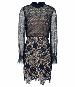 Reiss Elie - Lace Overlay Slim Fit Dress in Navy/nude, Womens, Size 16