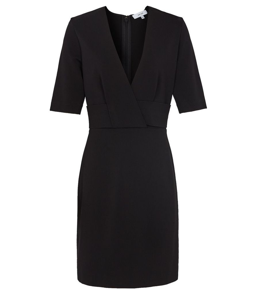 Reiss Rebecca - Wrap Front Slim Fit Dress in Black, Womens, Size 16