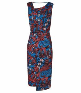 Reiss Diona - Cross Back Cocktail Dress in Multi, Womens, Size 16