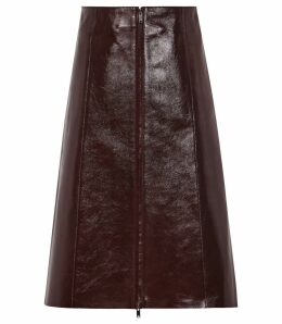Reiss Hanna - Patent Leather Skirt in Oxblood, Womens, Size 14