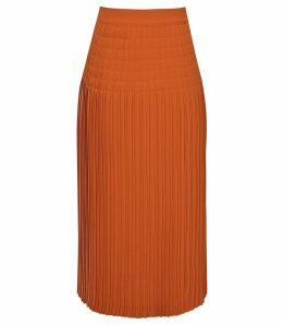 Reiss Breona - Pleated Midi Skirt in Burnt Orange, Womens, Size 14