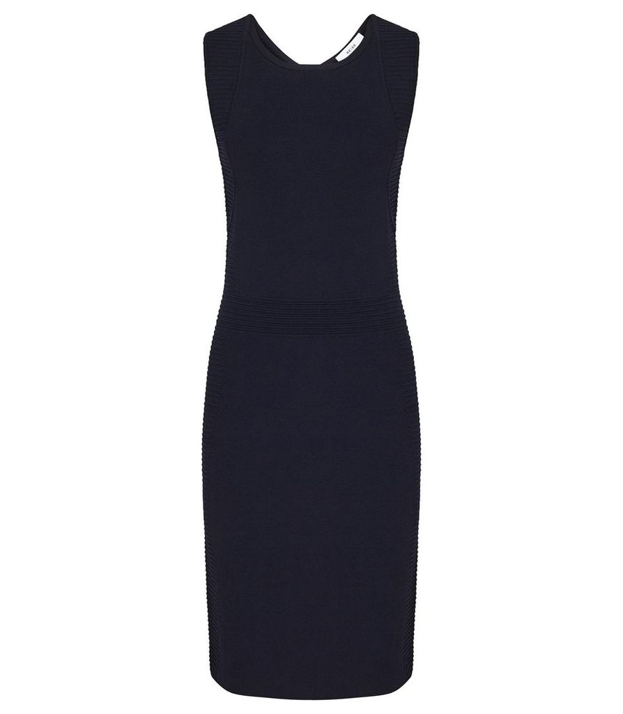 Reiss Diana - Knitted Bodycon Dress in Navy, Womens, Size XL