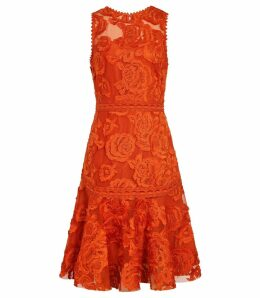 Reiss Adia - Lace Fit And Flare Dress in Winter Orange, Womens, Size 16