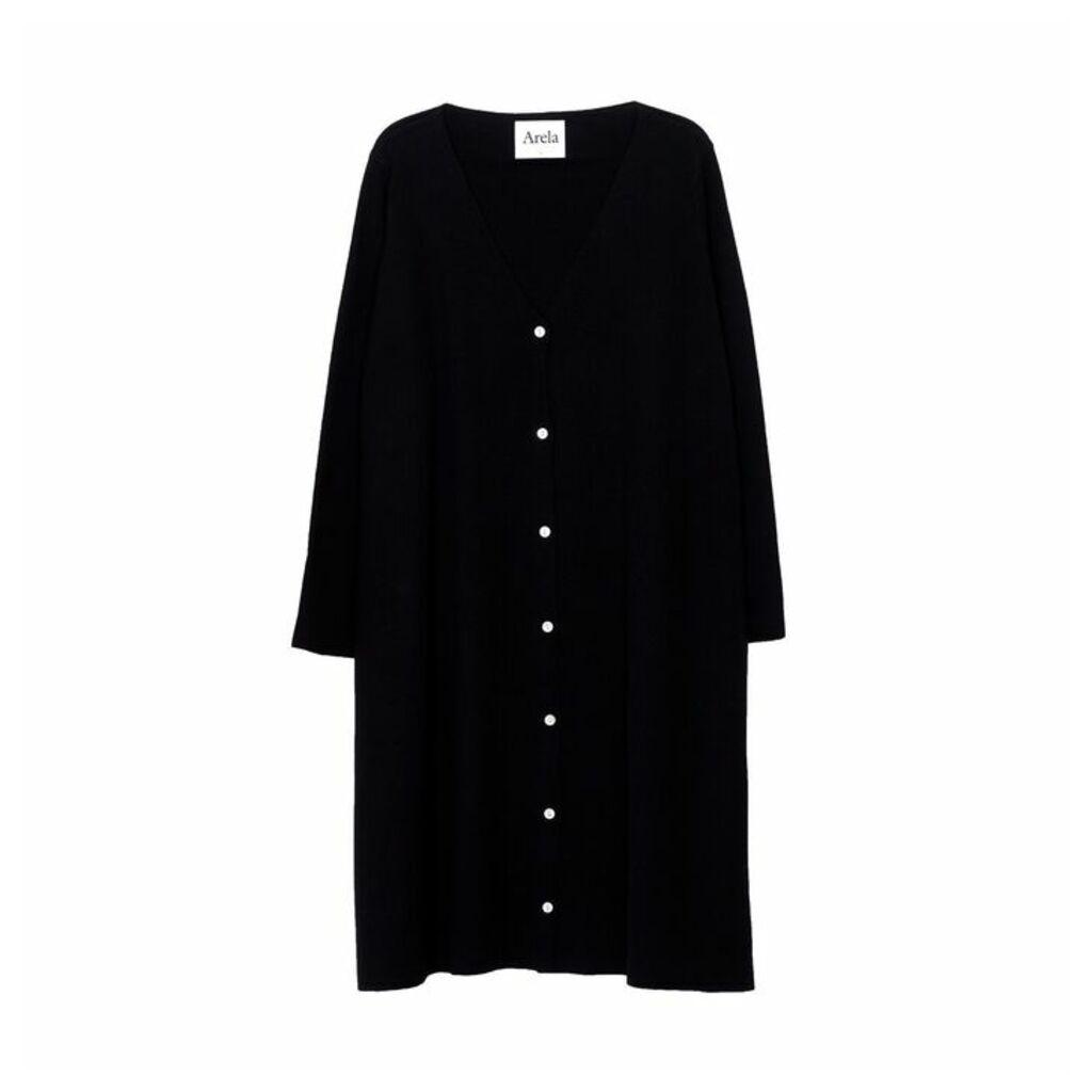 Arela Bev Merino Wool Cardigan In Black