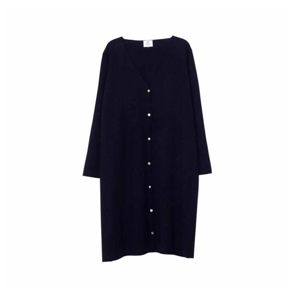 Arela Bev Merino Wool Cardigan In Dark Blue