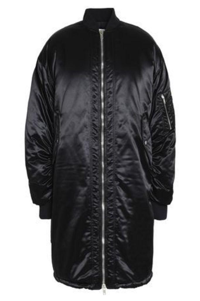 Msgm Woman Ruched Satin Bomber Jacket Black Size 42