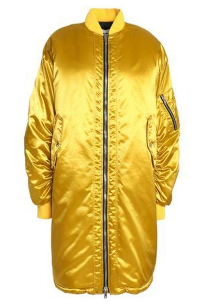 Msgm Woman Ruched Satin Bomber Jacket Mustard Size 42