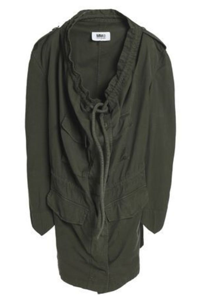 Mm6 Maison Margiela Woman Draped Stretch-cotton Jacket Army Green Size 44