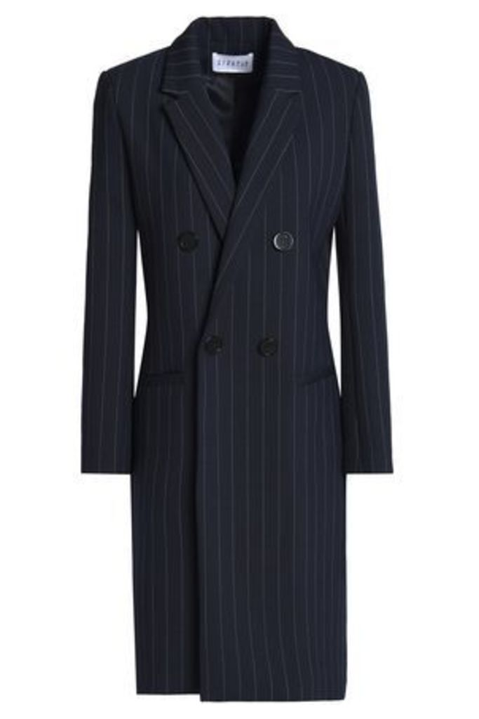 Claudie Pierlot Woman Double-breasted Striped Twill Jacket Midnight Blue Size 38
