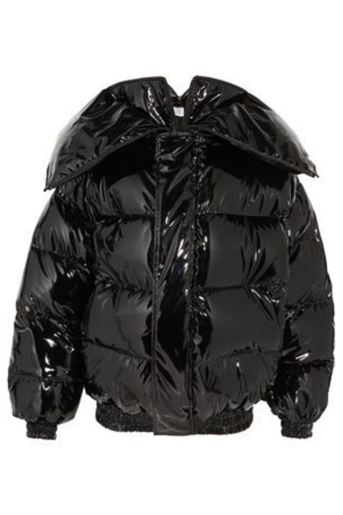 Vetements Woman Glossed Quilted Down Jacket Black Size L