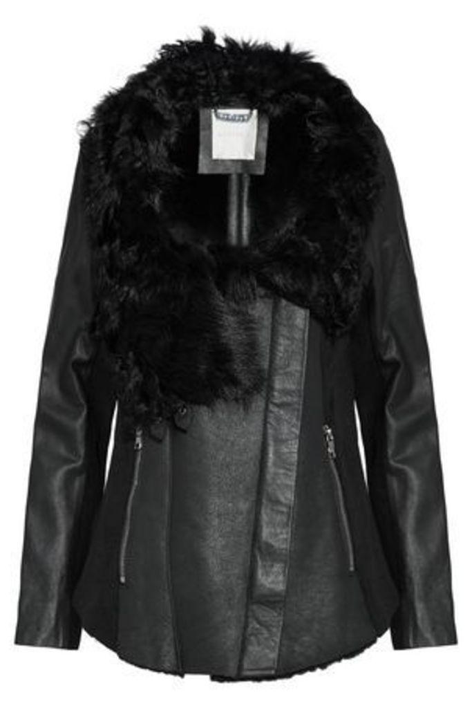 Ashley B. Woman Wool-paneled Shearling And Leather Biker Jacket Black Size L