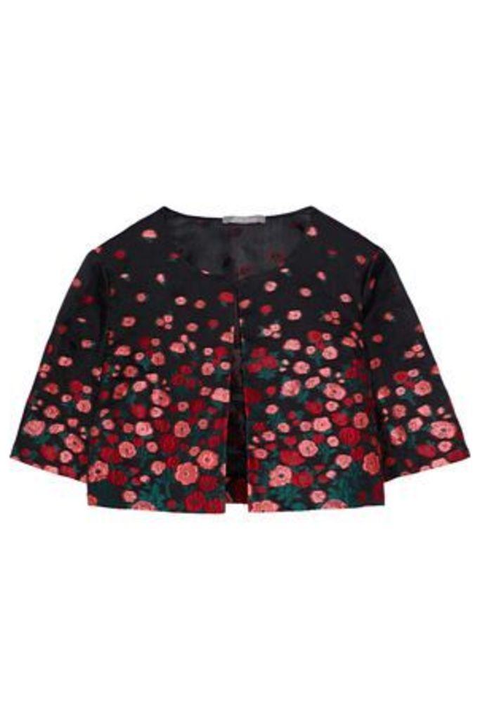 Lela Rose Woman Silk-blend Floral-jacquard Bolero Black Size 6