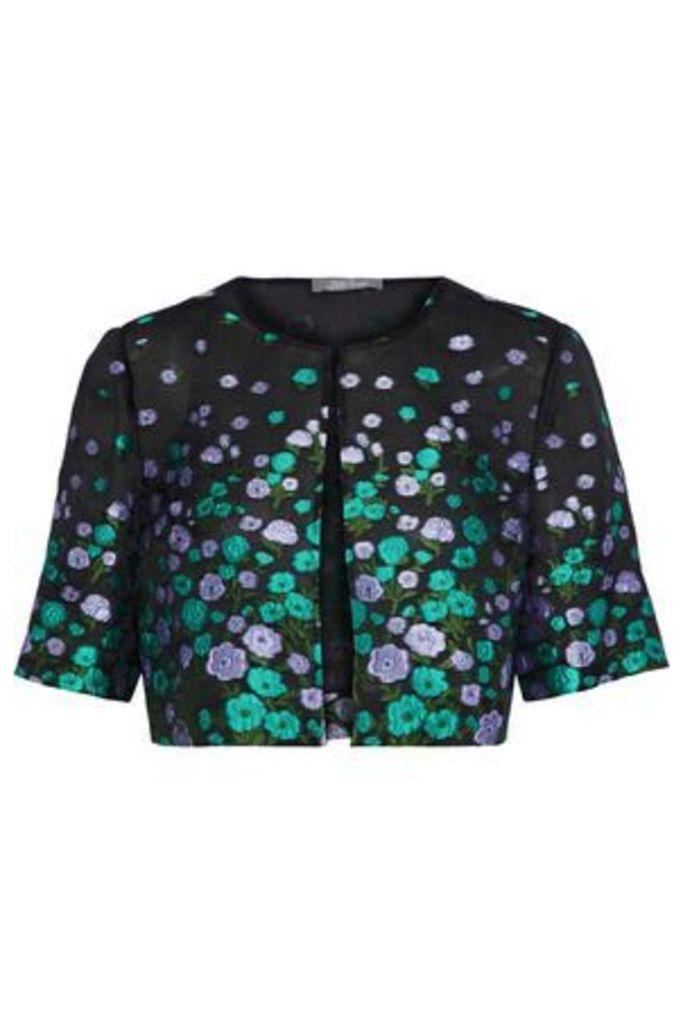 Lela Rose Woman Silk-blend Floral-jacquard Bolero Black Size 8