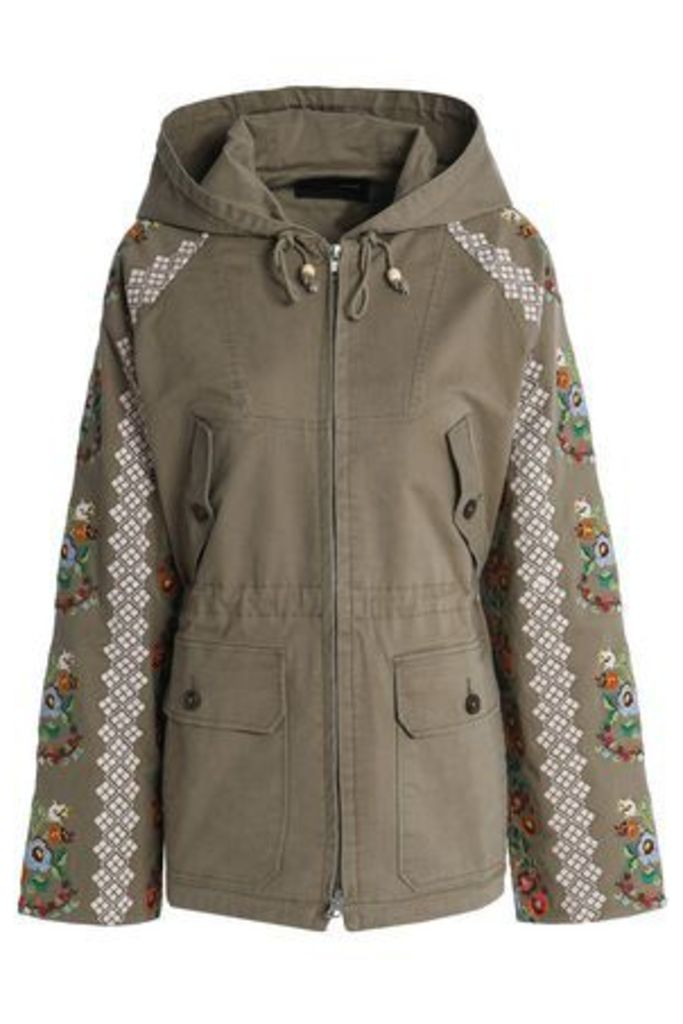 Needle & Thread Woman Embroidered Cotton-blend Twill Hooded Jacket Army Green Size 16