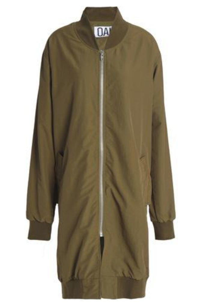 Oak Woman Oversized Shell Bomber Jacket Army Green Size L