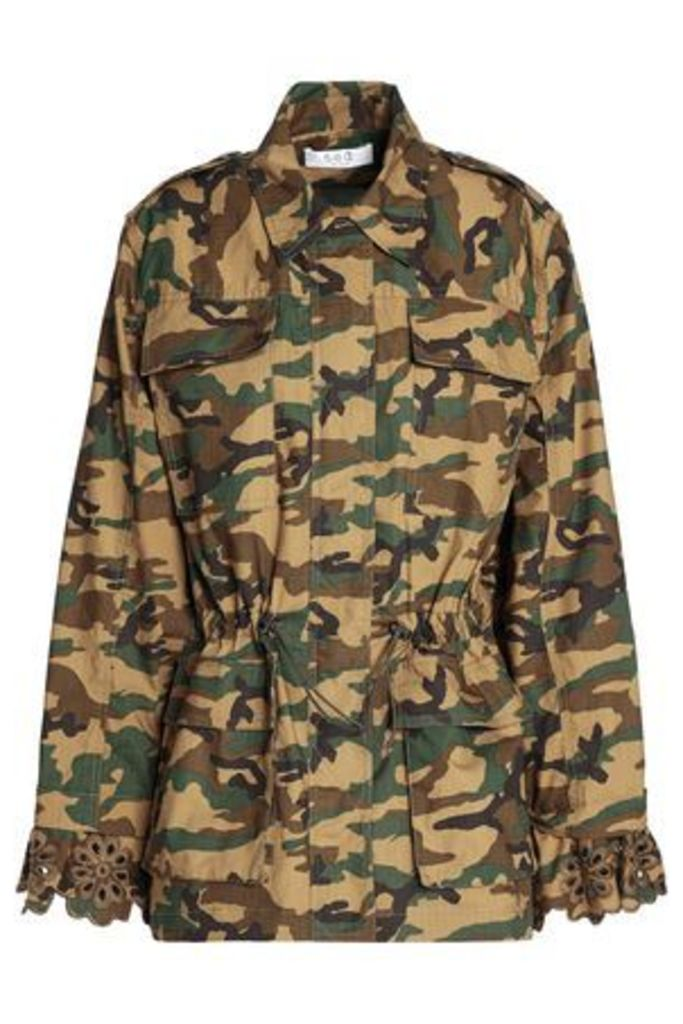 Sea Woman Gathered Printed Cotton Jacket Army Green Size L