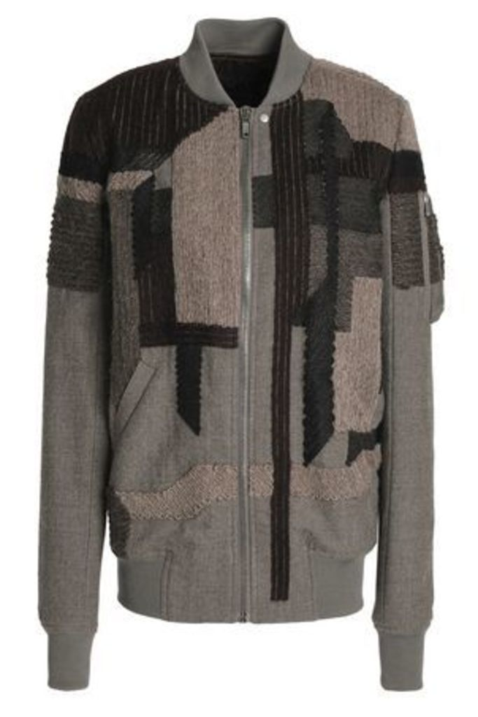 Rick Owens Woman Patchwork-effect Wool Bomber Jacket Taupe Size 40