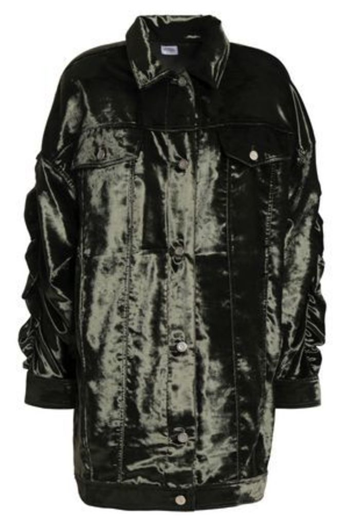 Opening Ceremony Woman Ruched Velvet Jacket Dark Green Size 0