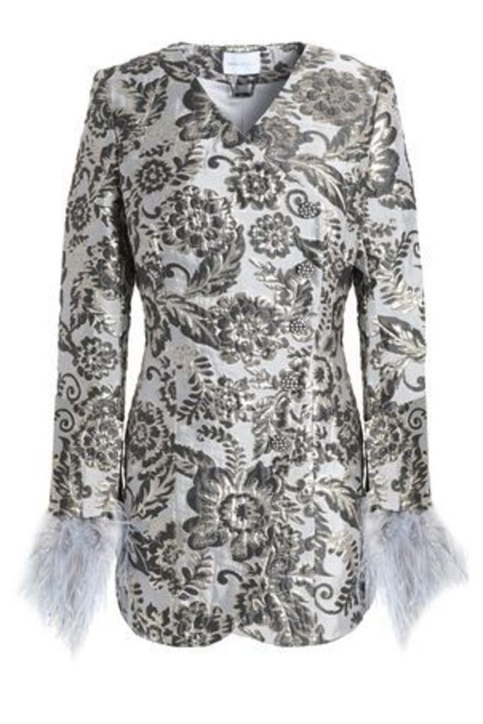 Alice Mccall Woman Bold And The Beautiful Feather-trimmed Brocade Jacket Light Gray Size 8
