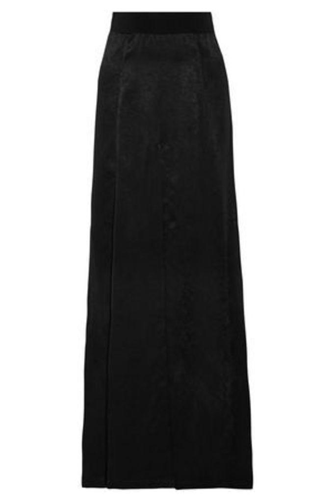 Ann Demeulemeester Woman Pleated Satin Maxi Skirt Black Size 40