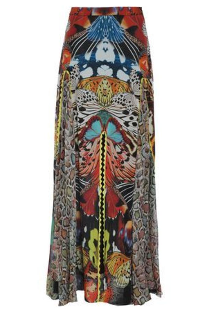 Roberto Cavalli Woman Fluted Printed Silk-georgette Maxi Skirt Multicolor Size 46