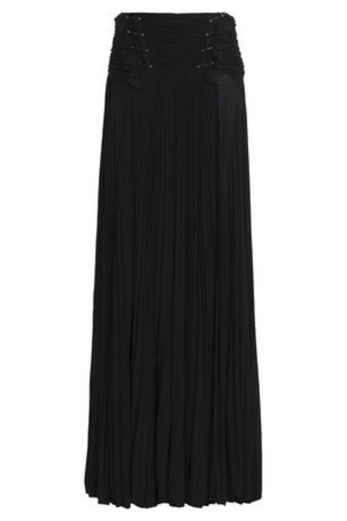 Roberto Cavalli Woman Embellished Pleated Crepe De Chine Maxi Skirt Black Size 46