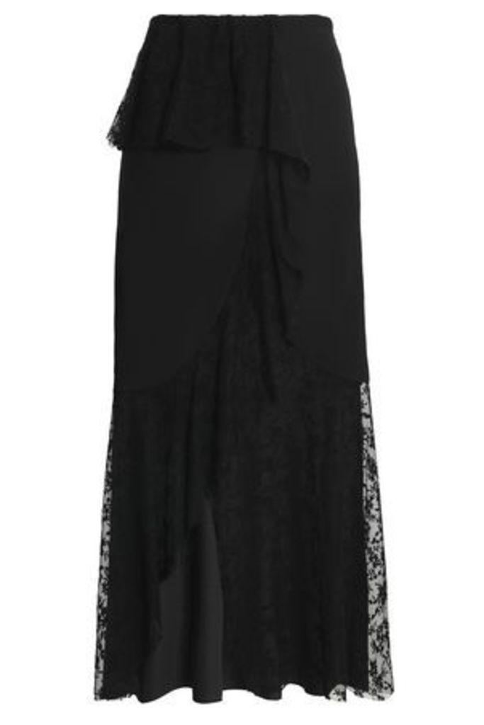 Goen.j Woman Crepe De Chine-paneled Embroidered Tulle Maxi Skirt Black Size L