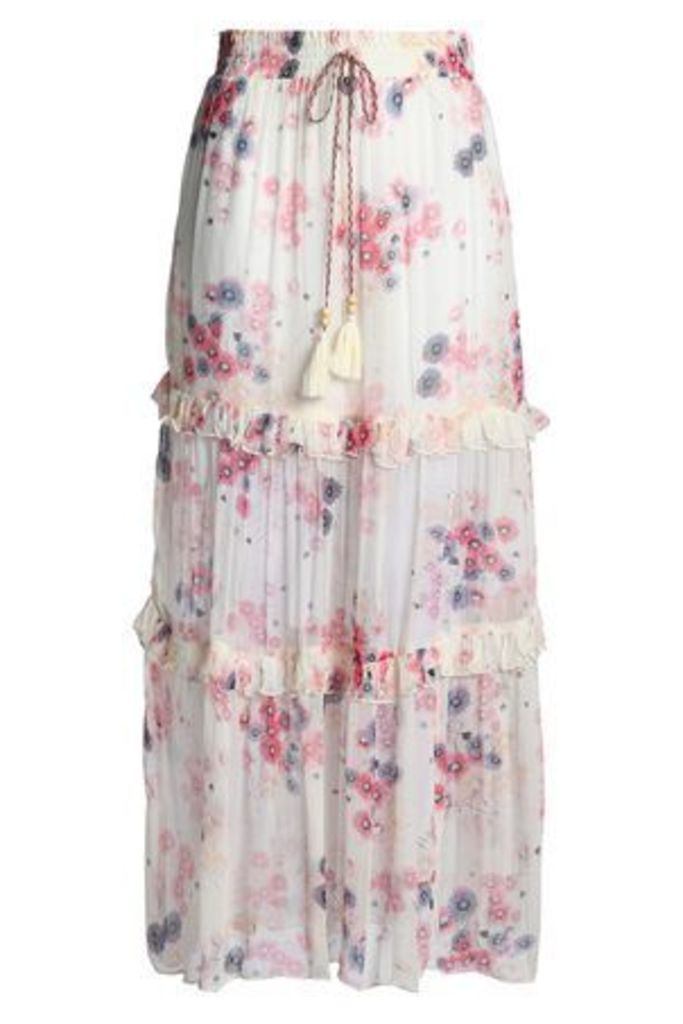Love Sam Woman Ruffled Floral-print Crepon Maxi Skirt Ivory Size M