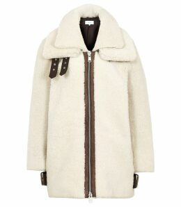 Reiss Isabelle - Shearling Coat in Neutral, Womens, Size XL