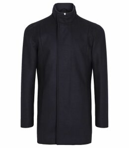 Reiss Angelo - Wool Blend Mid Length Coat in Navy, Mens, Size XXL