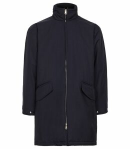 Reiss Alvaro - Zip Through Parka in Navy, Mens, Size XXL