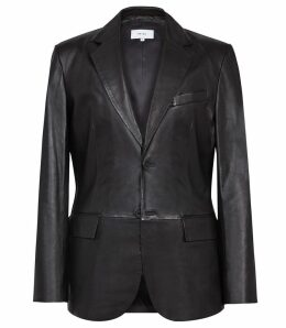 Reiss Hauge - Leather Blazer in Black, Mens, Size XXL